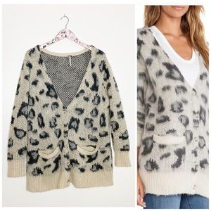 FREE PEOPLE Out Of Africa Cardigan Snow Leopard S